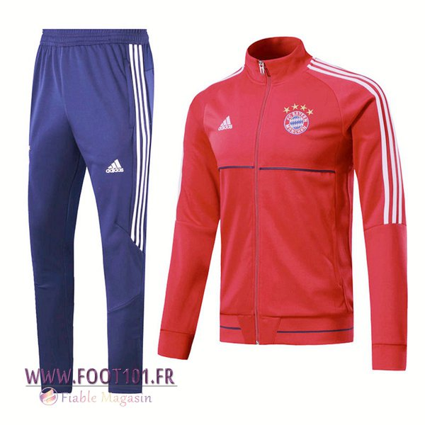 Ensemble Survetement Foot - Veste Bayern Munich Rouge/Blanc 2017/2018