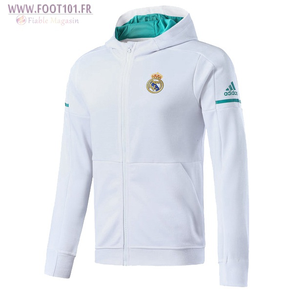 Capuche Veste Foot Real Madrid Blanc 2017/2018
