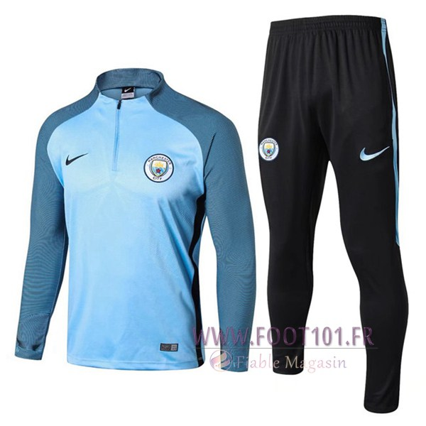 Ensemble Survetement Foot Manchester City Strike Drill Bleu 2017/2018