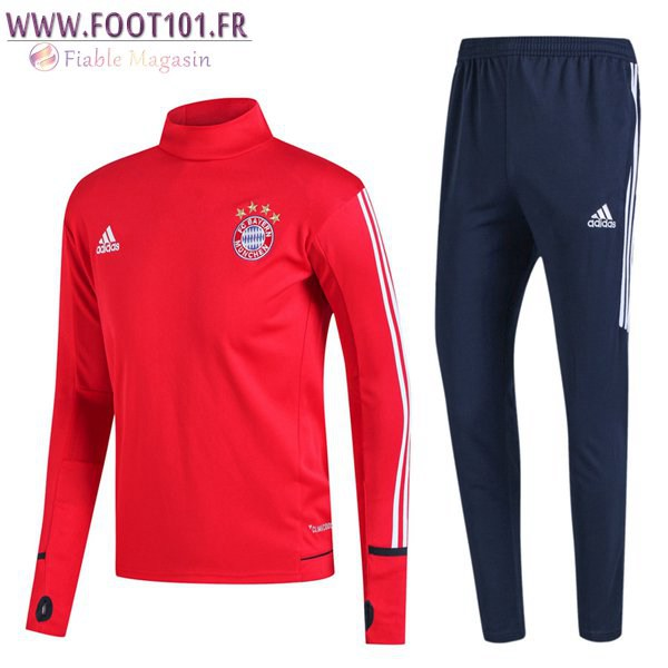 Ensemble Survetement Foot Bayern Munich Rouge Col Haut 2017/2018