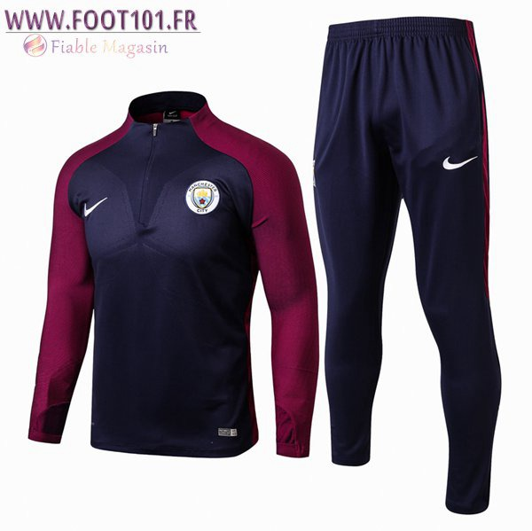 Ensemble Survetement Foot Manchester City Pourpre/Bleu 2017/2018
