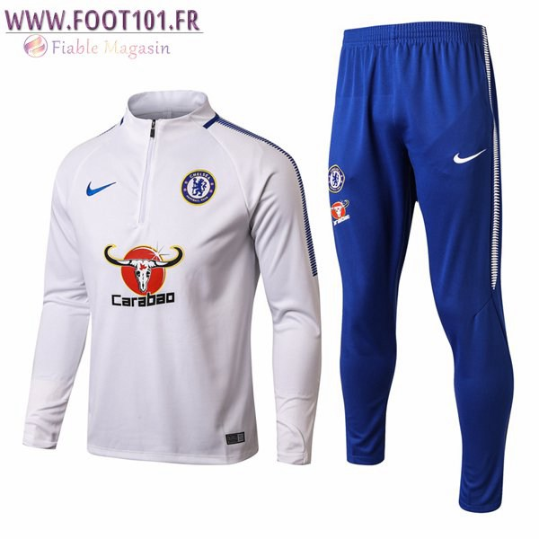Ensemble Survetement Foot FC Chelsea Blanc Marine 2017/2018