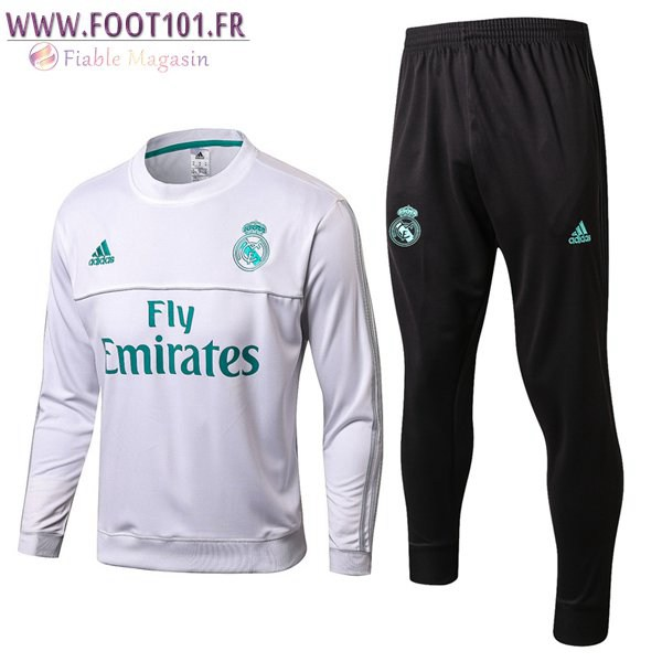 Ensemble Survetement Foot Real Madrid Blanc Col Rond 2017/2018