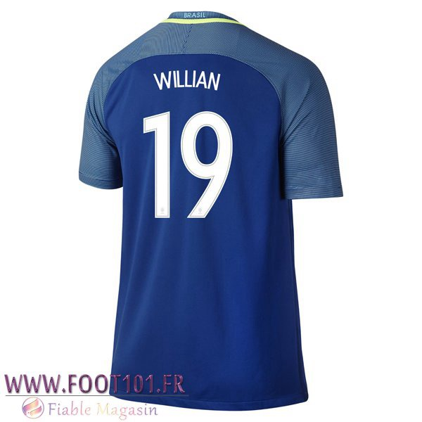 Maillot Foot Equipe Bresil (WILLIAN 19) 2016/2017 Exterieur