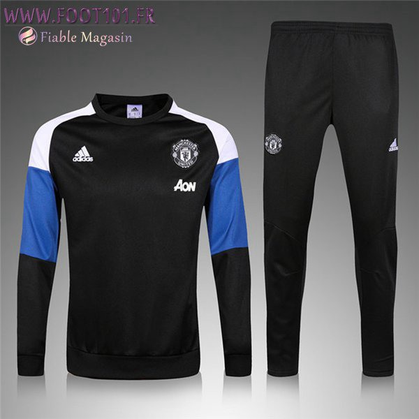 Ensemble Survetement Enfant Manchester United Noir/Bleu 2016 2017