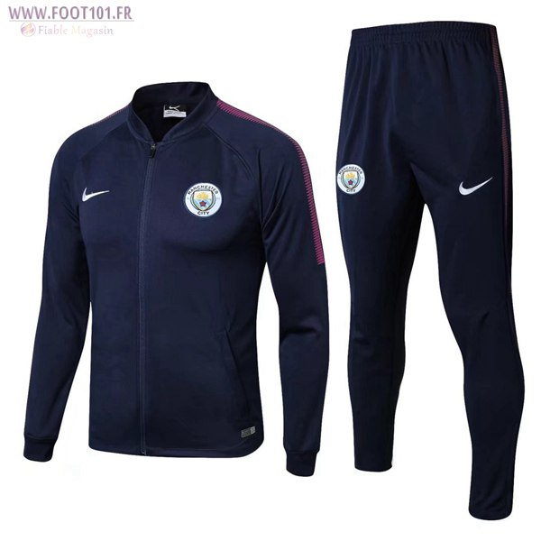 Ensemble Survetement Foot - Veste Manchester City Bleu Marine 2017/2018