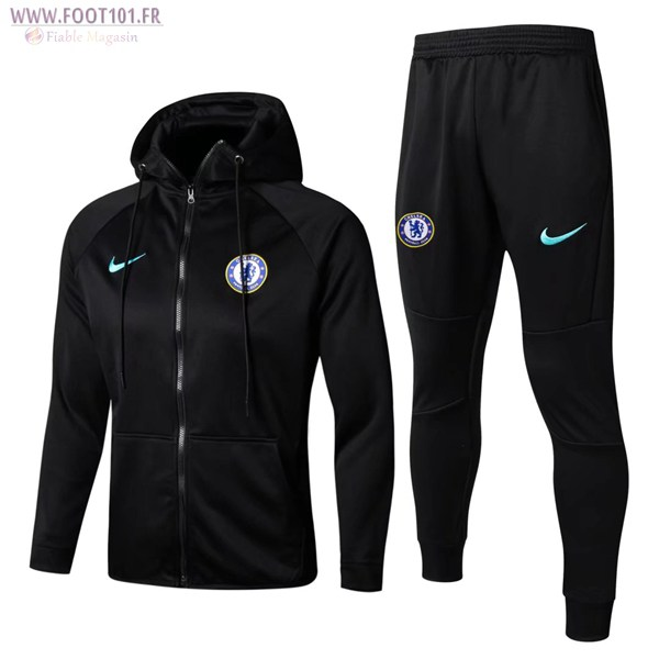Ensemble Survetement Foot Sweat Capuche FC Chelsea Noir 2017/2018