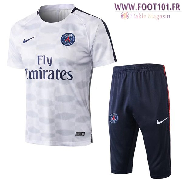 Ensemble PRÉ MATCH Training PSG + Pantalon 3/4 Blanc/Bleu 2017/2018