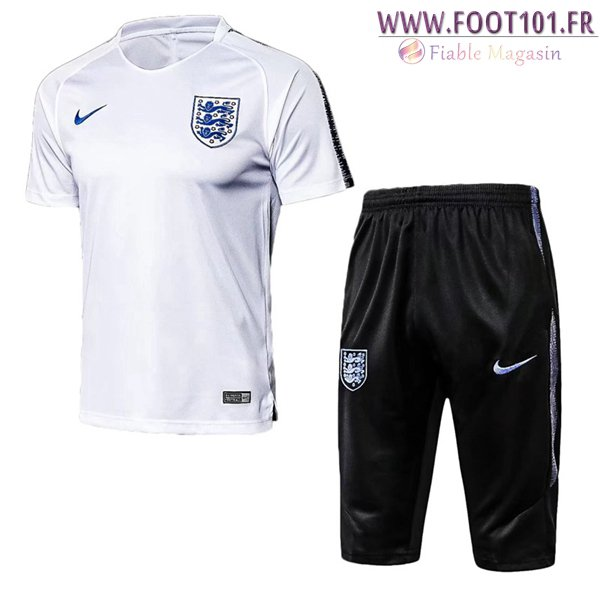 Ensemble PRÉ MATCH Training Angleterre + Pantalon 3/4 Blanc 2018/2019