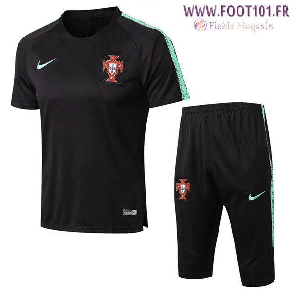 Ensemble PRÉ MATCH Training Portugal + Pantalon 3/4 Noir 2018/2019