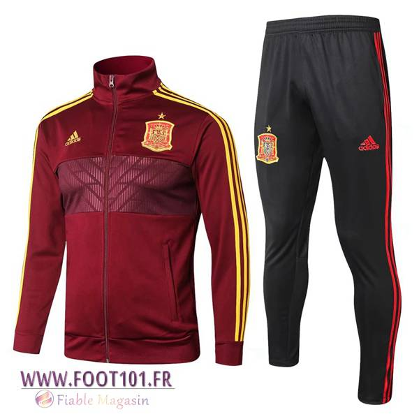 Ensemble Survetement Veste Foot Espagne Brown 2018/2019