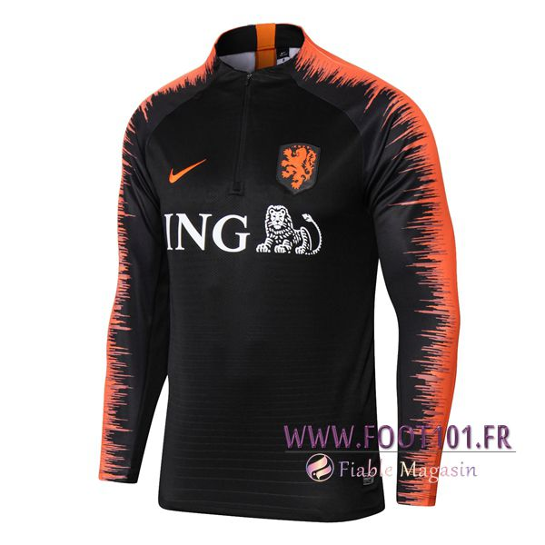 Sweatshirt Training Foot Pays-Bas Noir/Orange 2018/2019