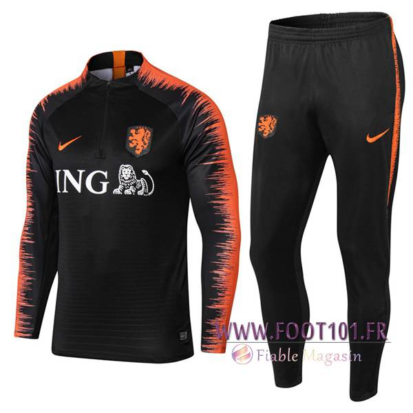 Ensemble Survetement Foot Pays-Bas Noir/Orange 2018/2019