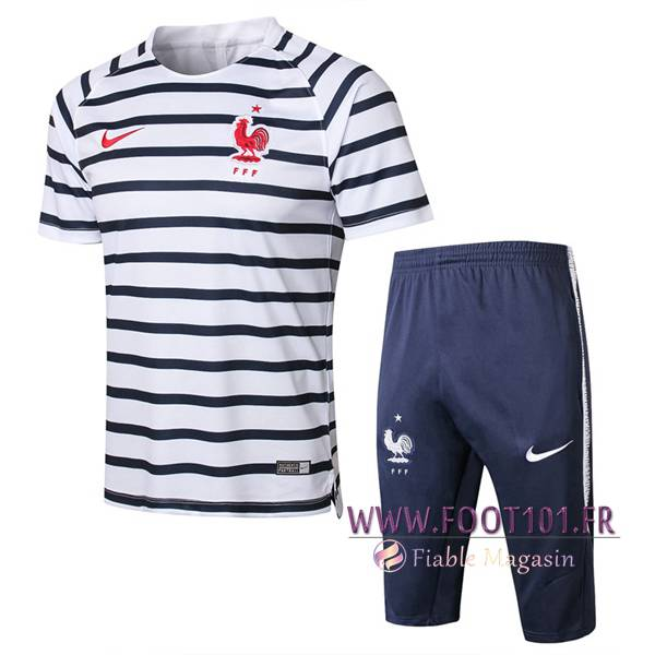Ensemble PRÉ MATCH Training France + Pantalon 3/4 Noir/Blanc 2018/2019