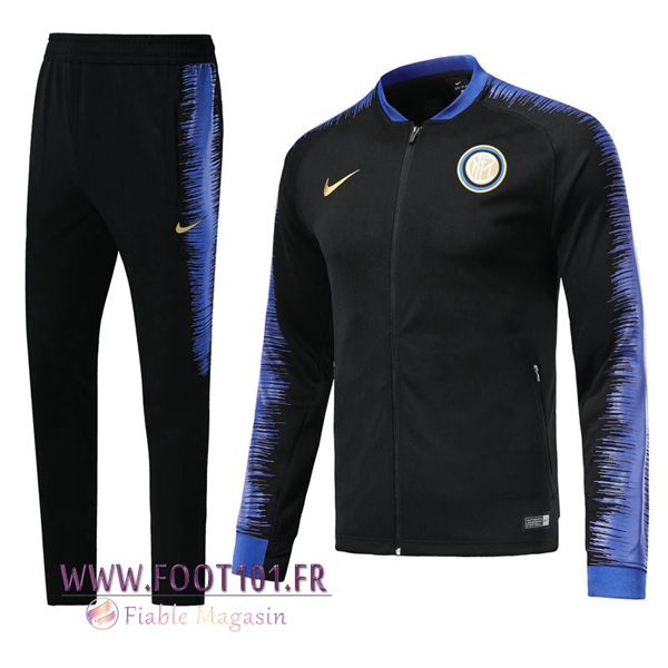 Ensemble Survetement Foot - Veste Inter Milan Noir 2018/2019