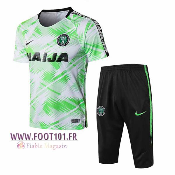 Ensemble PRÉ MATCH Training Nigeria + Pantalon 3/4 Bleu/Blanc 2018/2019
