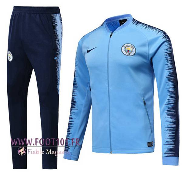 Ensemble Survetement Foot - Veste Manchester City Bleu/Noir 2018/2019