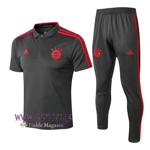 Ensemble Polo Bayern Munich + Pantalon Gris Fonce 2018/2019