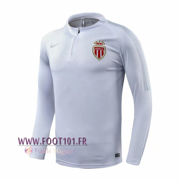 Sweatshirt Training AS Monaco Blanc 2018/2019