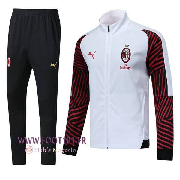 Ensemble Survetement Foot - Veste Milan AC Blanc/Rouge 2018/2019