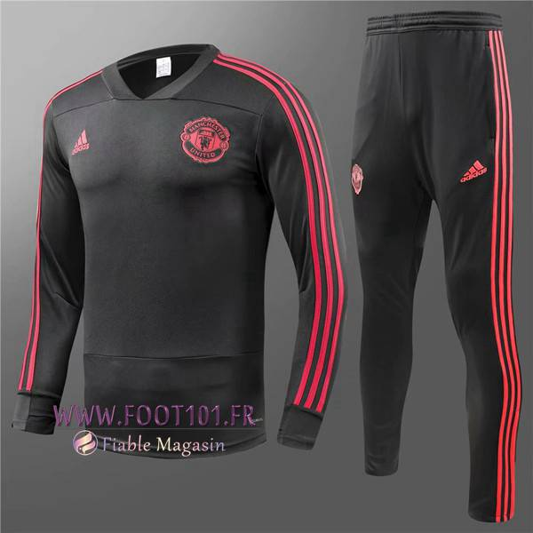 Ensemble Survetement Foot Manchester United Enfant Noir 2018/2019