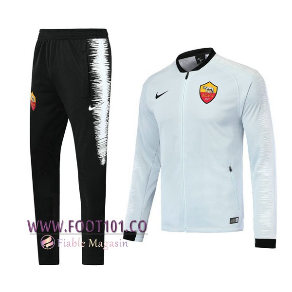 Ensemble Survetement Foot - Veste AS Rome Blanc 2018 2019