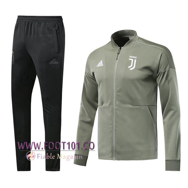 Ensemble Survetement Foot - Veste Juventus Gris Fonce 2018 2019