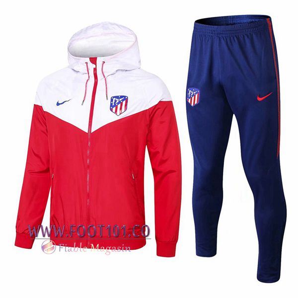 Ensemble Veste Coupe Vent Atletico Madrid Blanc/Rouge 2018 2019