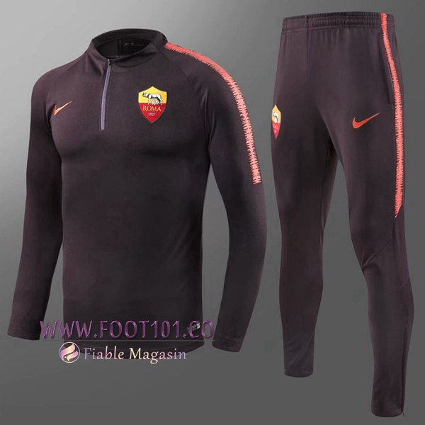 Ensemble Survetement Foot AS Rome Enfant Brown 2018 2019