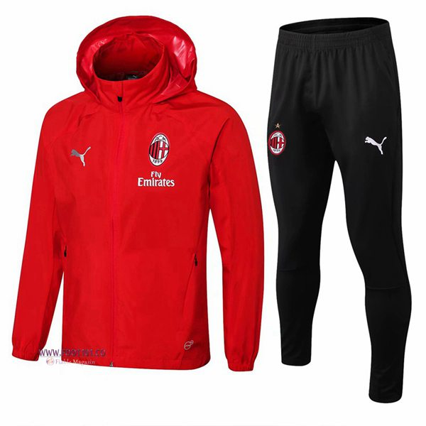 Ensemble Survetement Veste Coupe Vent Milan AC Rouge 2018/2019