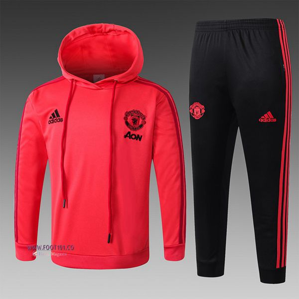 Ensemble Sweat A Capuche Survetement Manchester United Enfant Rouge 2018/2019