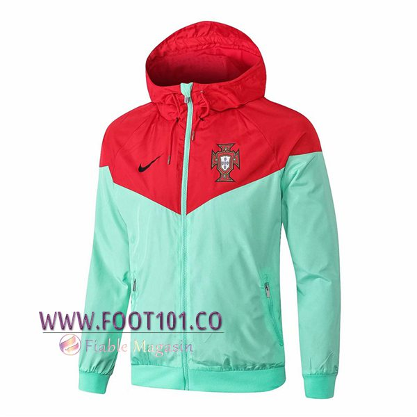 Veste Foot Coupe Vent Portugal Rouge/Vert 2018/2019