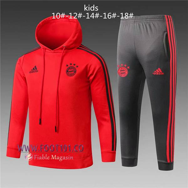 Ensemble Sweat A Capuche Survetement Foot Bayern Munich Enfant Rouge 2018/2019
