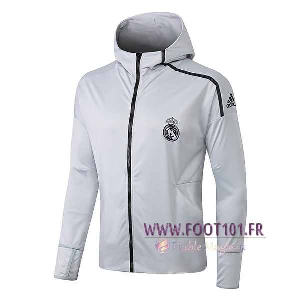 Veste Foot Sweat A Capuchet Real Madrid Gris Clair 2019/2020