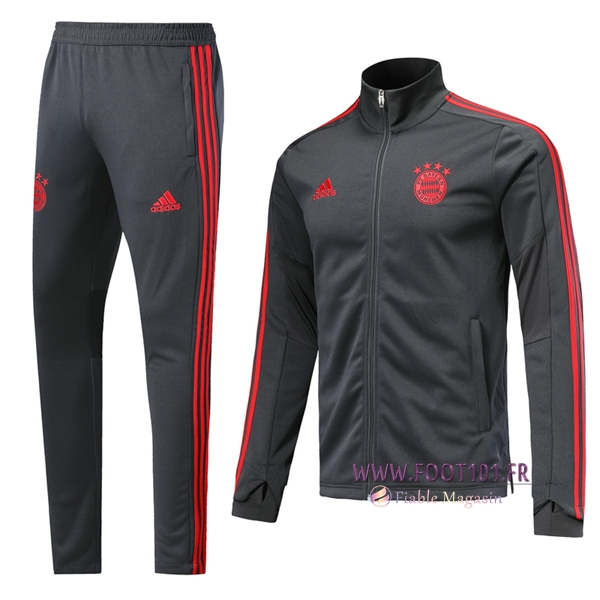 Ensemble Survetement Foot - Veste Bayern Munich Gris Fonce 2019/2020