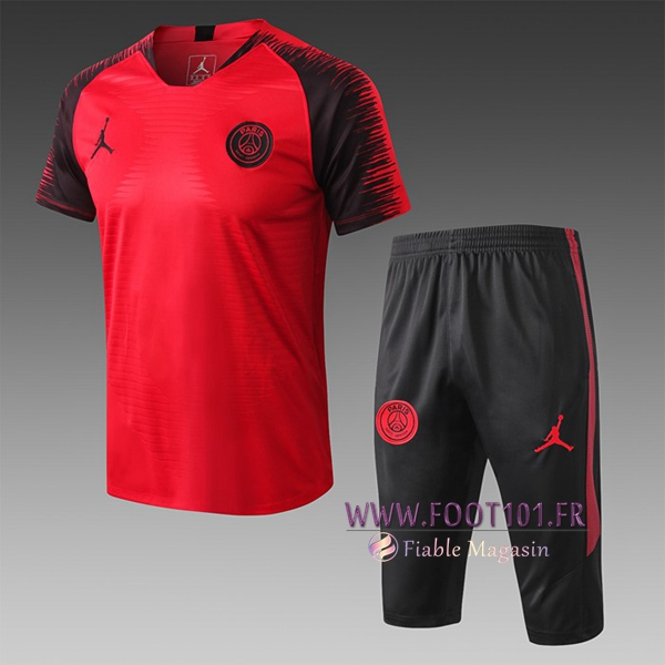 Ensemble PRÉ MATCH Training PSG Jordan + Pantalon 3/4 Rouge/Noir 2019/2020