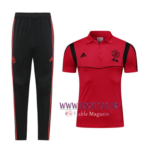 Ensemble Polo Manchester United + Pantalon Rouge/Noir 2019/2020