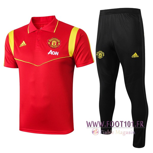 Ensemble Polo Manchester United + Pantalon Rouge 2019/2020