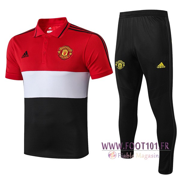 Ensemble Polo Manchester United + Pantalon Blanc Noir Rouge 2019/2020