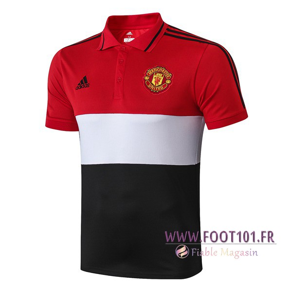 Polo Foot Manchester United Blanc Noir Rouge 2019/2020