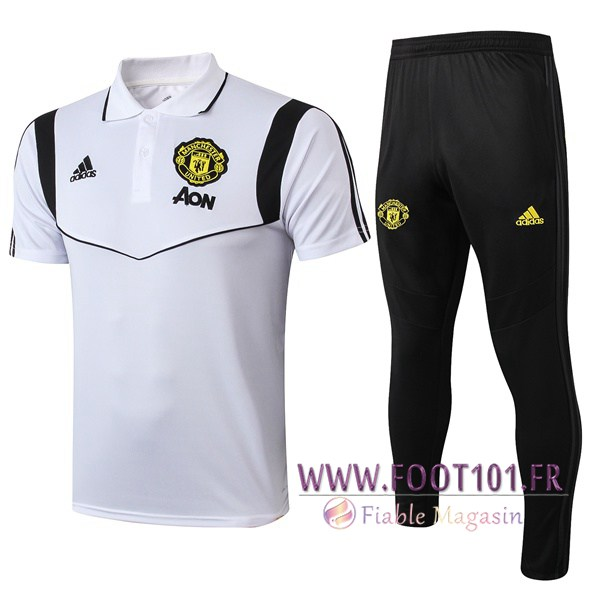 Ensemble Polo Manchester United + Pantalon Blanc Noir 2019/2020