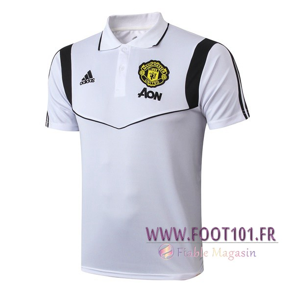Polo Foot Manchester United Blanc Noir 2019/2020