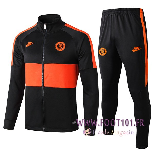 Ensemble Survetement de Foot - Veste FC Chelsea Noir Orange 2019/2020