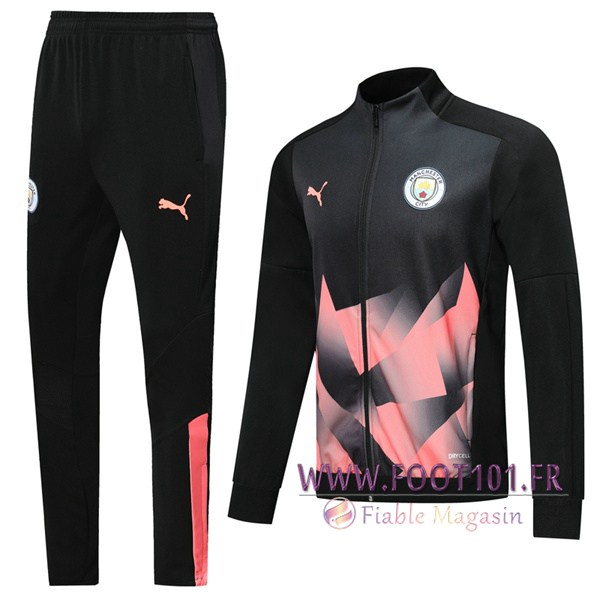 Ensemble Survetement de Foot - Veste Manchester City Noir Rose 2019/2020