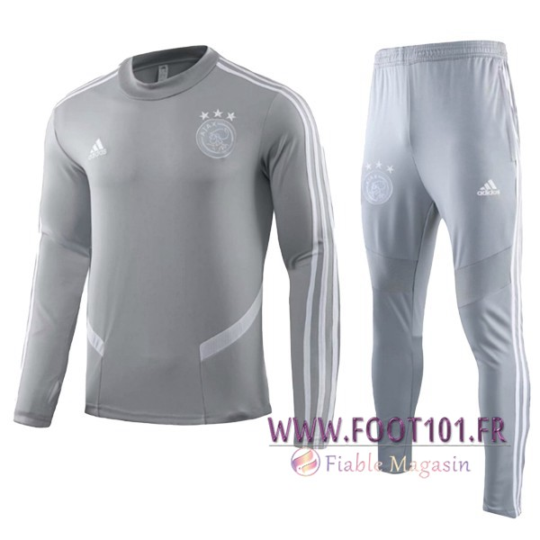 Ensemble Survetement de Foot Foot AFC Ajax Enfant Gris 2019/2020