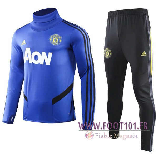 Ensemble Survetement de Foot Manchester United Enfant Bleu Col Haut 2019/2020