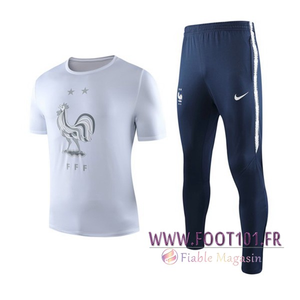 Ensemble Training T-Shirts France + Pantalon Blanc 2019/2020