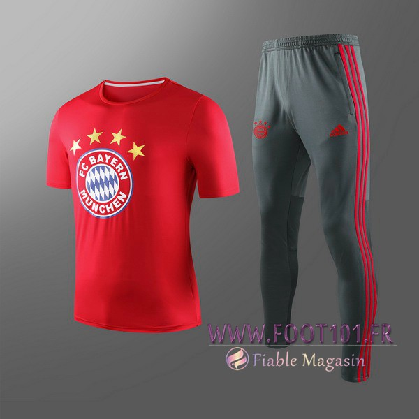 Ensemble Training T-Shirts Bayern Munich Enfants + Pantalon Rouge 2019/2020