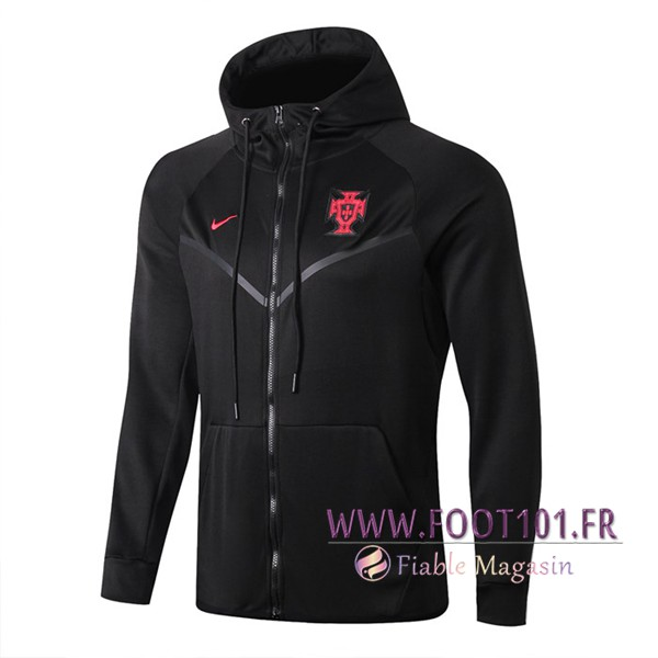 Veste Foot Sweat A Capuche Portugal Noir 2019/2020