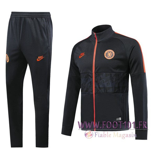 Ensemble Survetement Foot - Veste FC Chelsea Noir 2019/2020